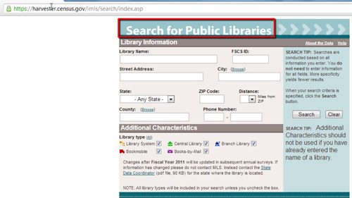 The public libraries page
