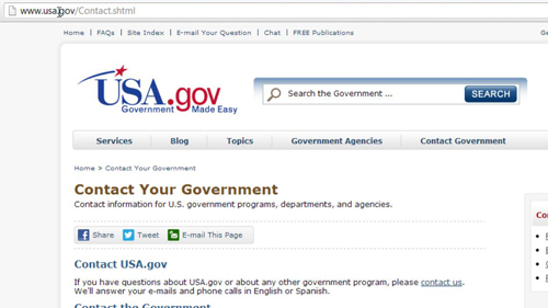 The contact page for the government