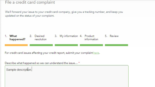 The complaint options