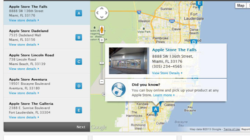 Locating the store closest to you