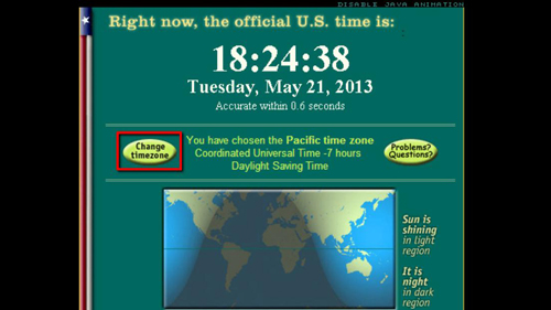 Choosing to select a different time zone