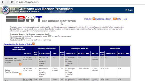 The Border Wait Times site