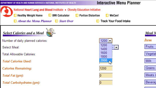 Selecting your number of daily calories