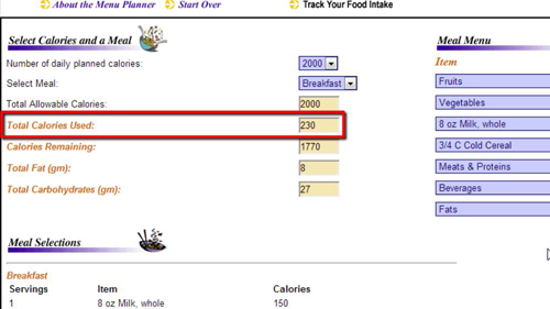 Calories consumed for the selected meal