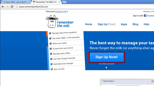 Signing up for remember the milk