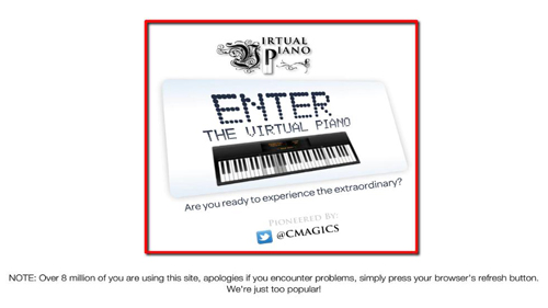 Accessing the virtual piano