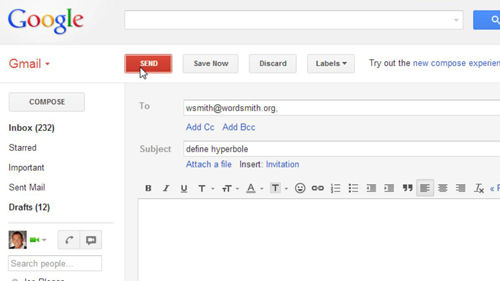 Sending an email to the WordSmith service