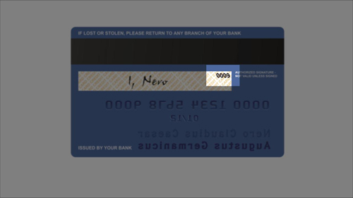 The security number on the signature strip of a card