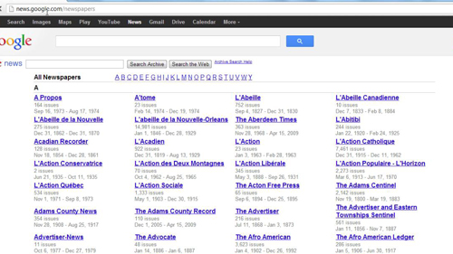 The Google newspaper archives