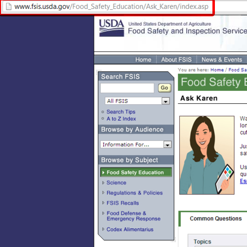 Open Ask Karen Page for Food Safety Education