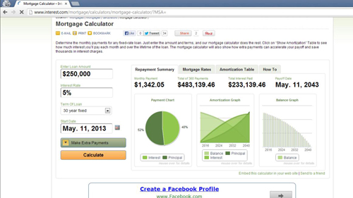 An online mortgage calculator