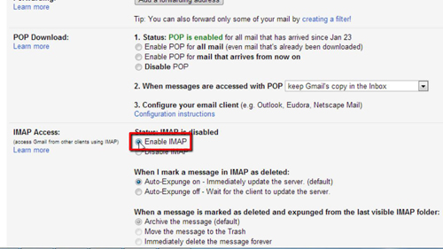Completing the change in Gmail