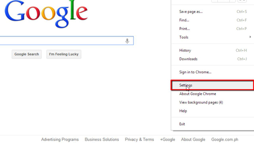Navigating to settings in Chrome