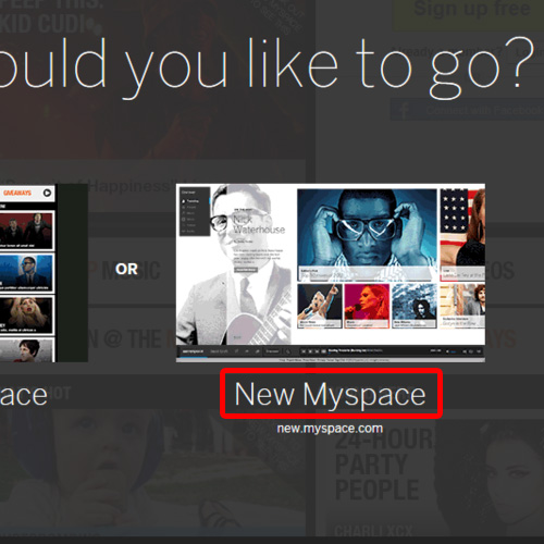 Select the new myspace option