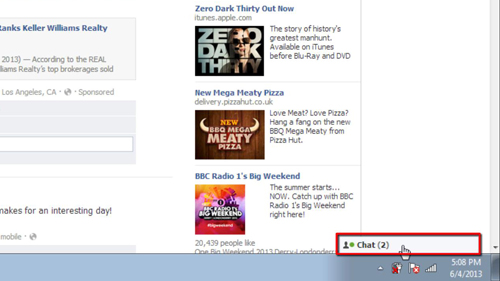 Opening the chat dialog in Facebook