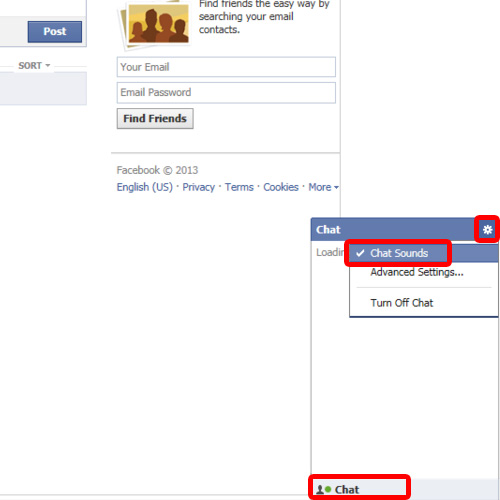 Turn off chat sounds in Facebook