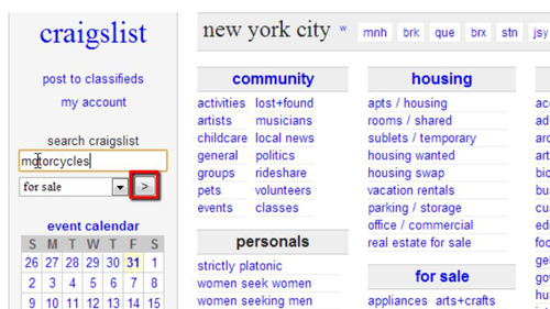 Searching for a term in Craigslist