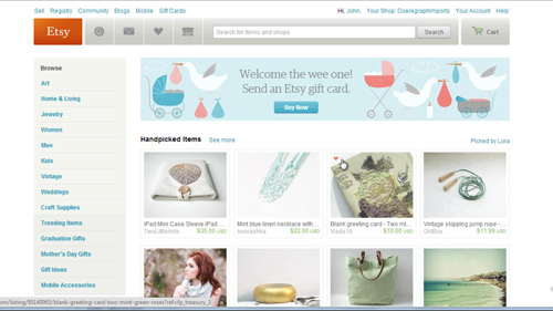 The Etsy homepage