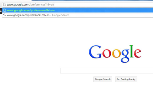 Navigating to the safe search part of Google