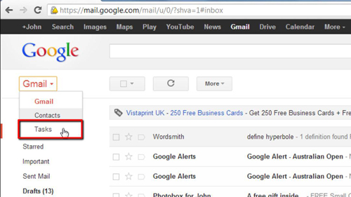 Accessing tasks in Gmail