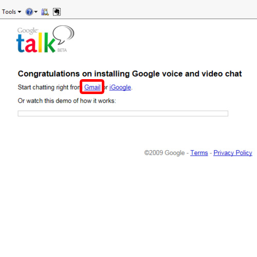 Chat using the Gmail option