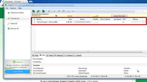 Downloading the data using a torrent program