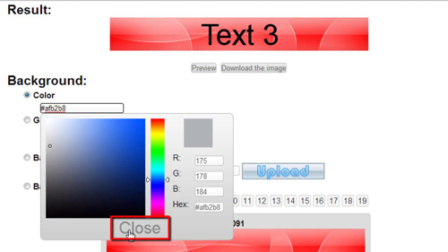 Closing the color selector