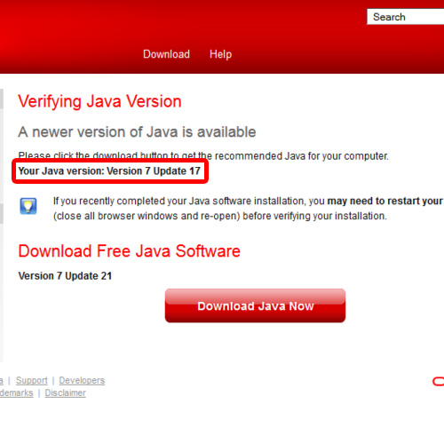Java Version displayed on official site