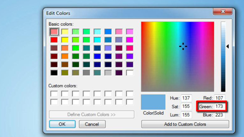 The values for the color