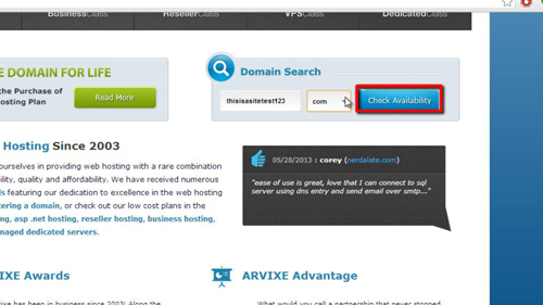 Click the Check Availability button to search
