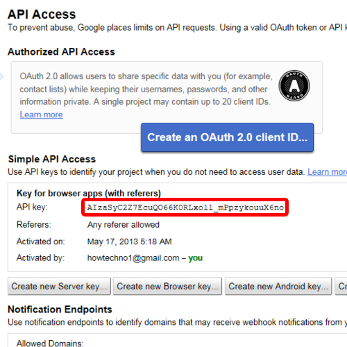 Go to API access tab