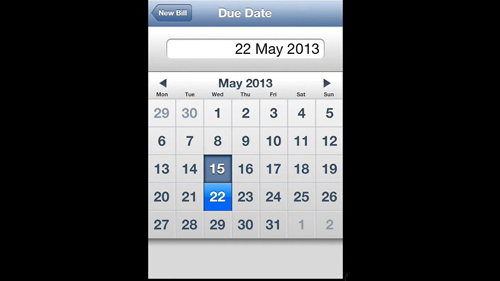 Creating a due date for the bill
