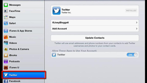 Your twitter account settings