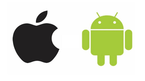 The Apple and Android logos