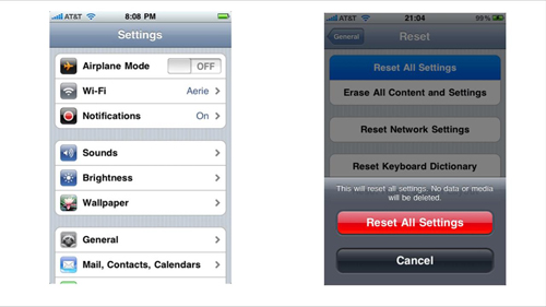 Resetting your iPhone on the device