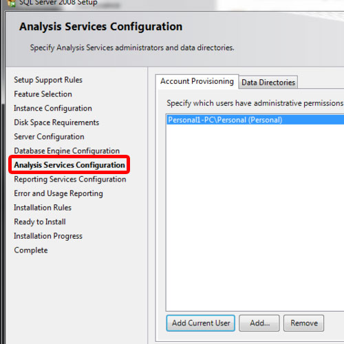 assign user to analysis services