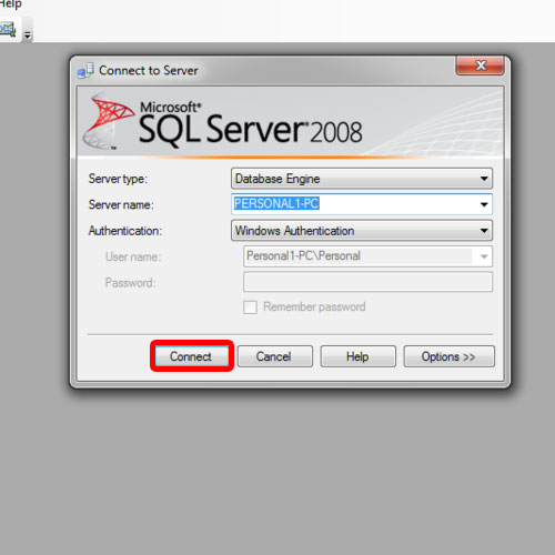 connecting to the SQL server