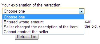 Reason for retracting eBay bid