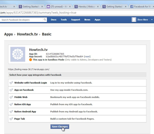 Creating Facebook Application