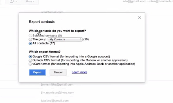 choose contacts you want to export