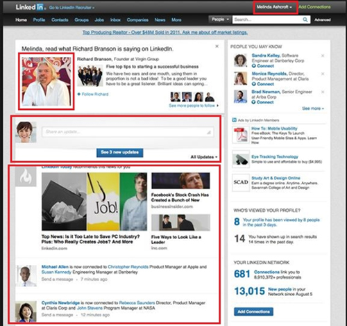 Get update the status of LinkedIn