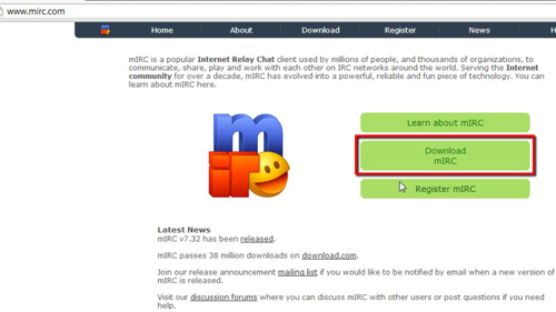 Download mIRC client