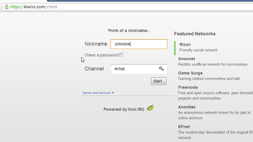 Nickname and Channel Settings
