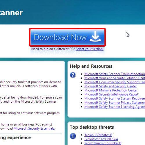 Download Microsoft safe scanner from browser