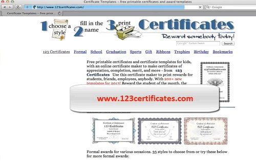 www.123certificates.com in browser