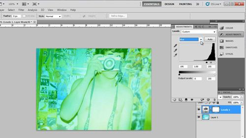 Adjusting the blue curves of the image