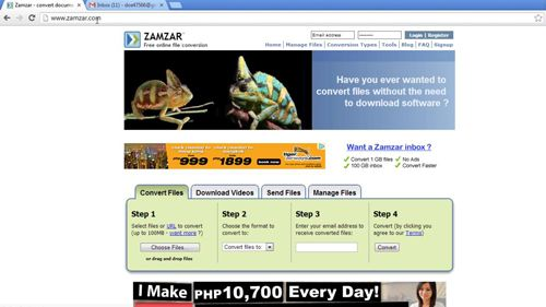Navigating to the Zamzar conversion website