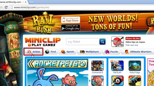 The action link in Miniclip