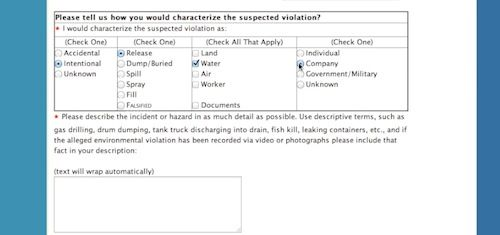 fill in violation details