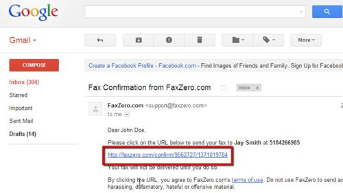 Using the email link to confirm the fax